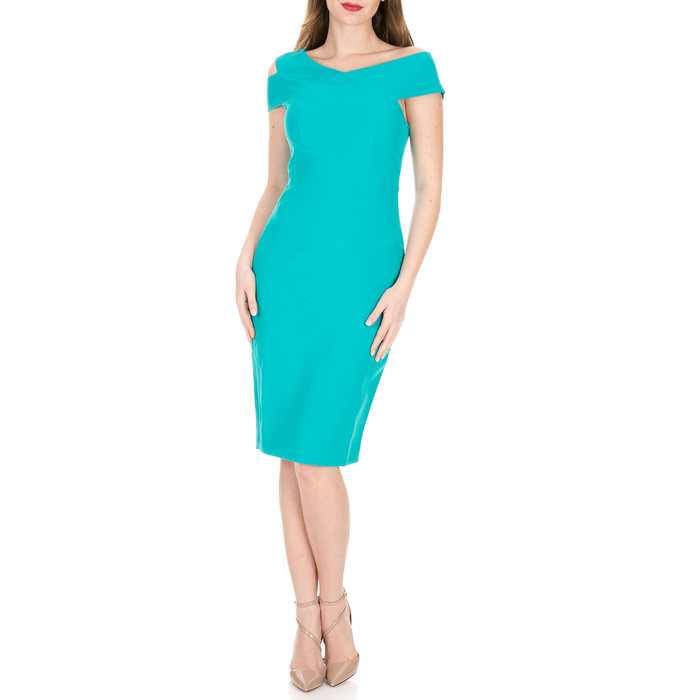 TED BAKER - Γυναικείο midi φόρεμα TED BAKER YANDAL ASYMMETRIC BODY CON μπλε
