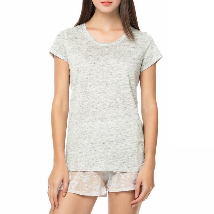 FUNKY BUDDHA - Γυναικείο λινό t-shirt FUNKY BUDDHA γκρι ανοιχτό