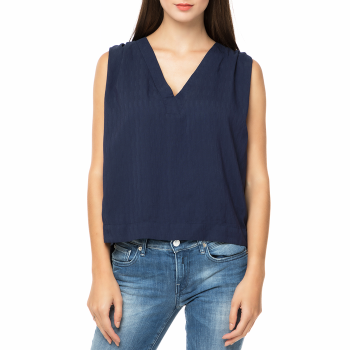 FUNKY BUDDHA - Γυναικεία αμάνικη μπλούζα FUNKY BUDDHA μπλε σκούρη