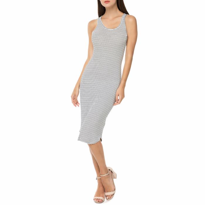 FUNKY BUDDHA - Γυναικείο ριγέ midi φόρεμα FUNKY BUDDHA μαύρο-λευκό
