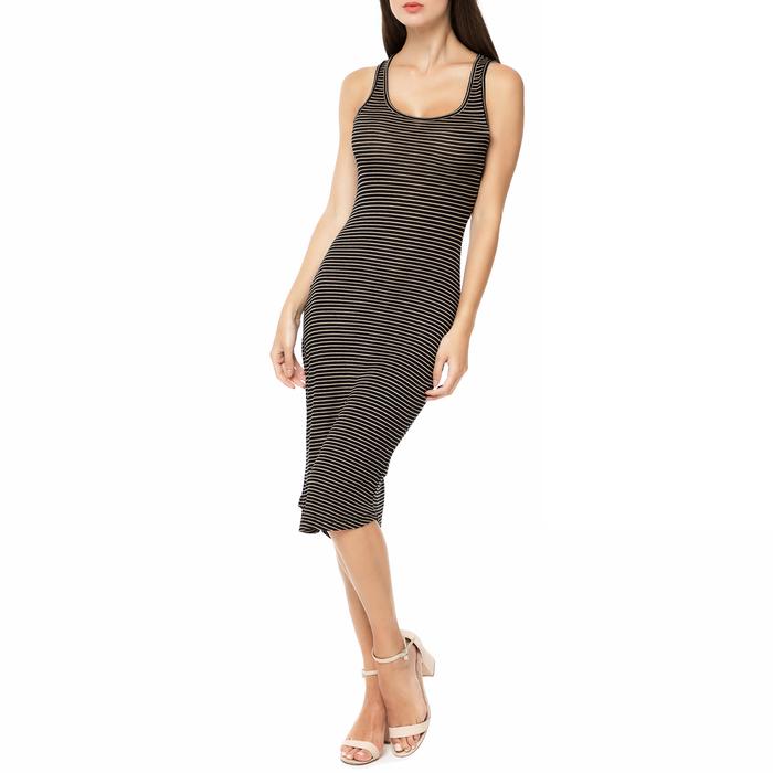 FUNKY BUDDHA - Γυναικείο ριγέ midi φόρεμα FUNKY BUDDHA μαύρο-μπεζ