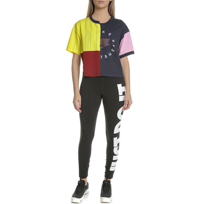NIKE - Γυναικεία κοντομάνικη μπλούζα NIKE TOP μαύρη-κίτρινη