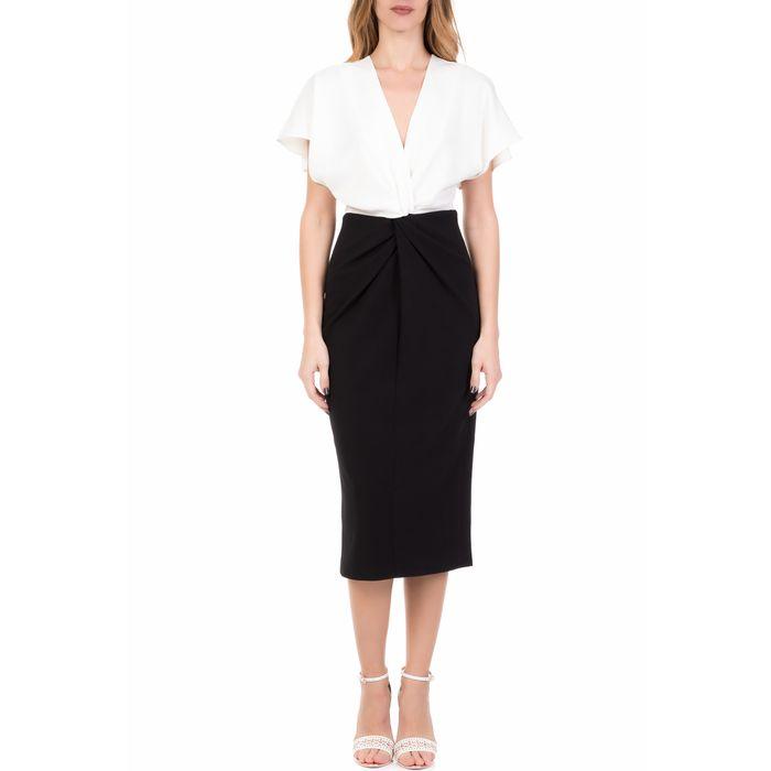 TED BAKER - Γυναικείο μίντι φόρεμα TED BAKER ELLAME WRAP OVER λευκό-μαύρο