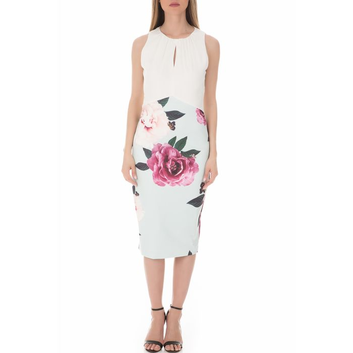 TED BAKER - Γυναικείο midi φόρεμα TED BAKERANNILE MAGNIFICENT RUCHED φλοράλ