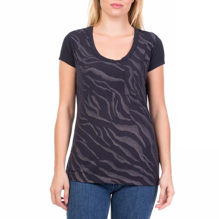 CALVIN KLEIN JEANS - Γυναικεία κοντομάνικη μπλούζα ANIMAL STRIPE CITY CALVIN KLEIN JEANS μοβ