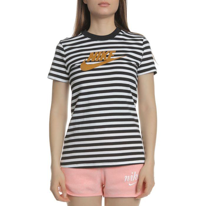 NIKE - Γυναικείο t-shirt NIKE NSW ασπρόμαυρο