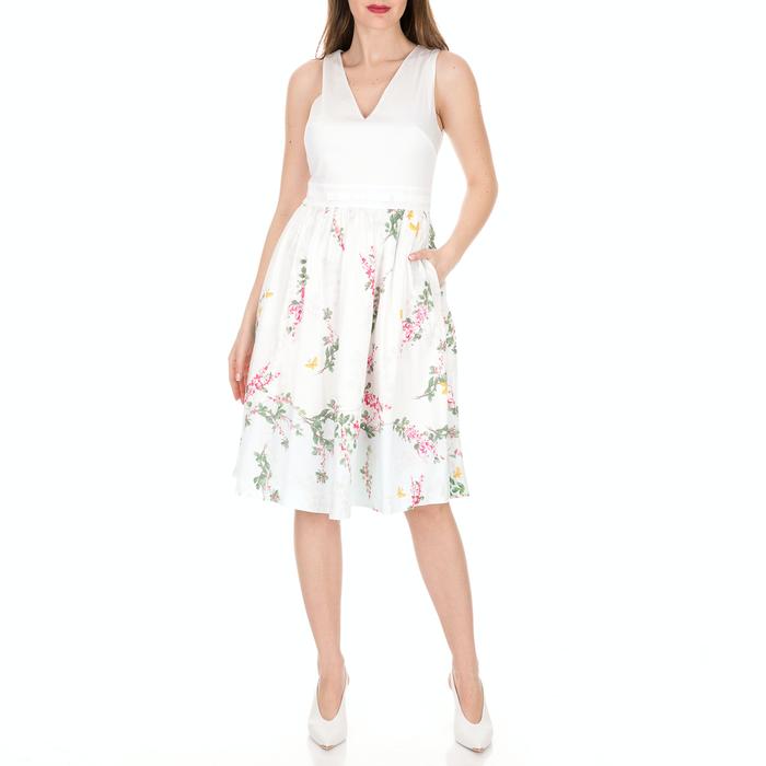 TED BAKER - Γυναικείο midi φόρεμα TED BAKER REYYNE λευκό