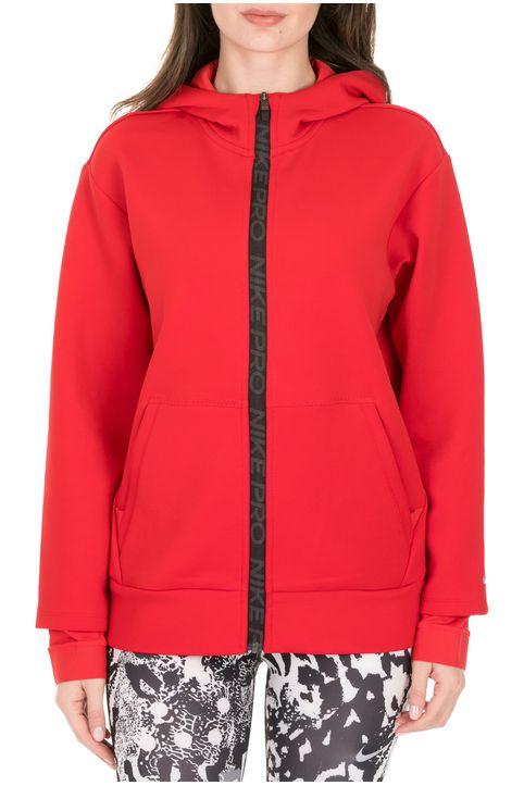 NIKE - Γυναικεία φούτερ ζακέτα NIKE PRO CLN FLEECE κόκκινη