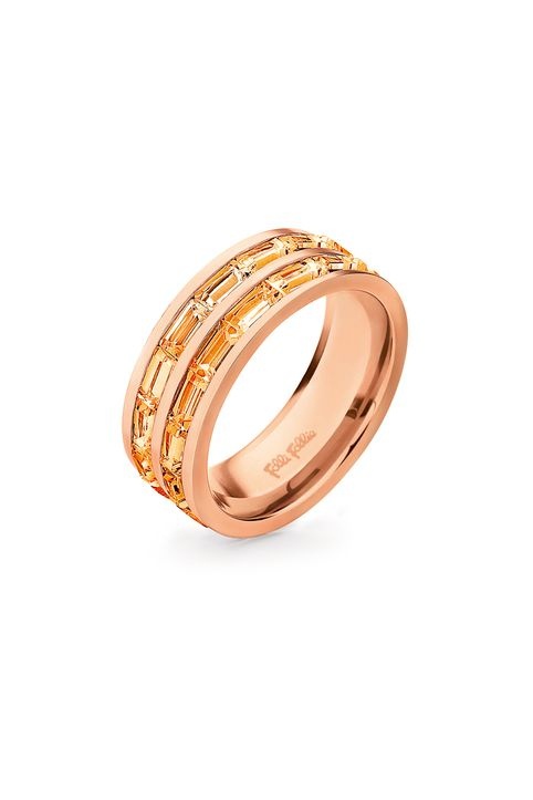 FOLLI FOLLIE - Επίχρυσο δαχτυλίδι από ατσάλι FOLLI FOLLIE ροζ-χρυσό