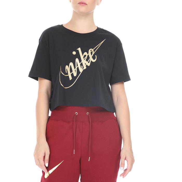 NIKE - Γυναικείο cropped top NIKE NSW TEE CROP GLITTER 2 μαύρο