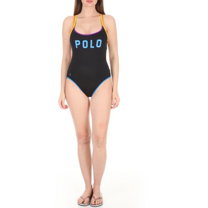 POLO RALPH LAUREN - Γυναικείο ολόσωμο μαγιό POLO RALPH LAUREN Logo Icon DBL Binding Mutli St μαύρο