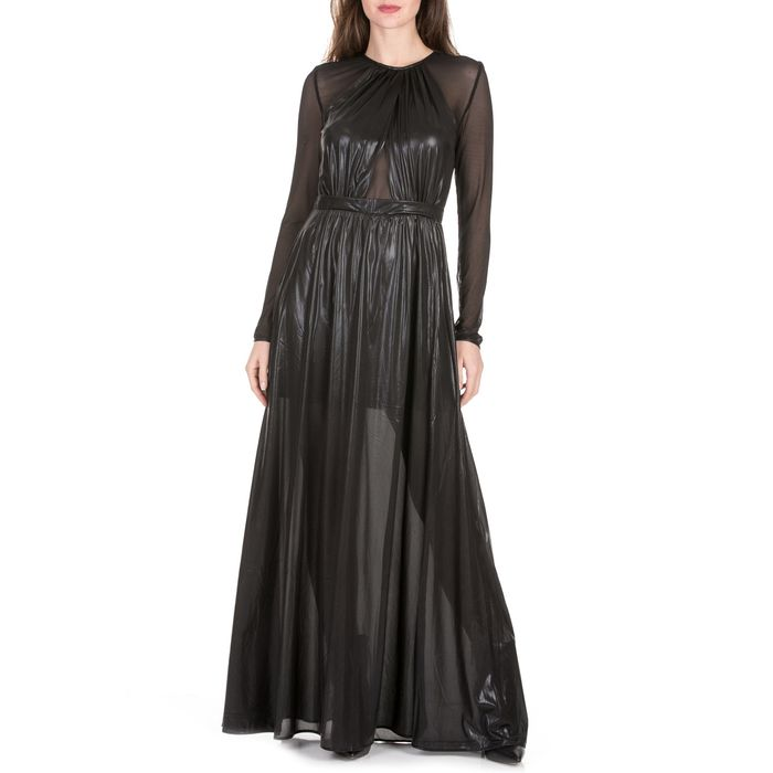 NENETTE - Γυναικείο μακρύ φόρεμα NENETTE LAMINATO ASTI μαύρο