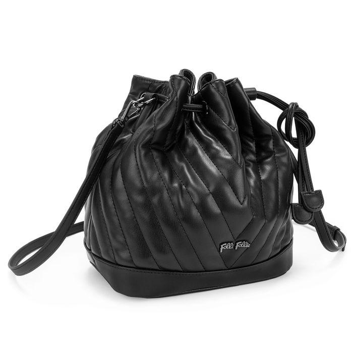 FOLLI FOLLIE - Γυναικεία τσάντα πουγκί FOLLI FOLLIE STYLE ROW μαύρη
