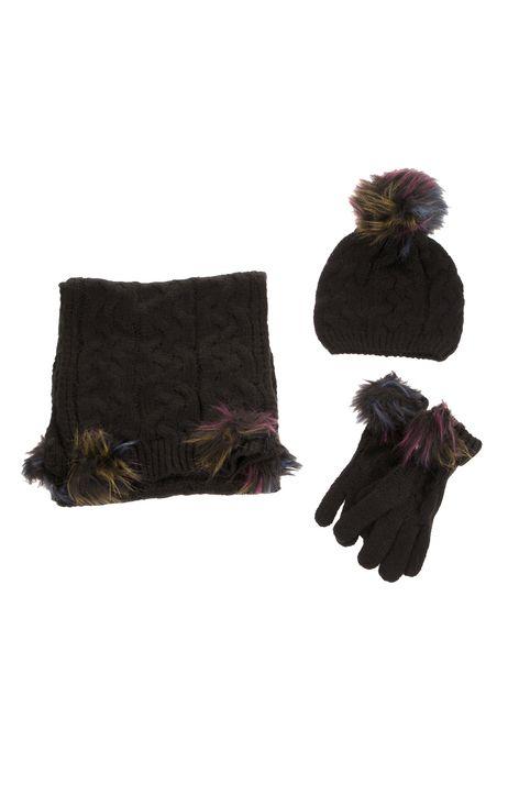 MOLLY BRACKEN - Γυναικείο σετ κασκόλ-γάντια-σκούφος MOLLY BRACKEN μαύρο