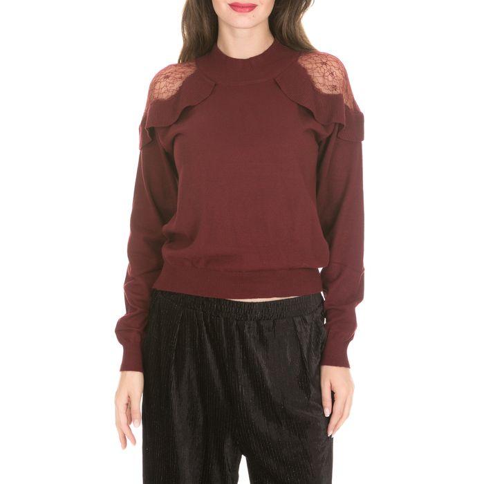 MOLLY BRACKEN - Γυναικεία πλεκτή μπλούζα MOLLY BRACKEN μπορντό