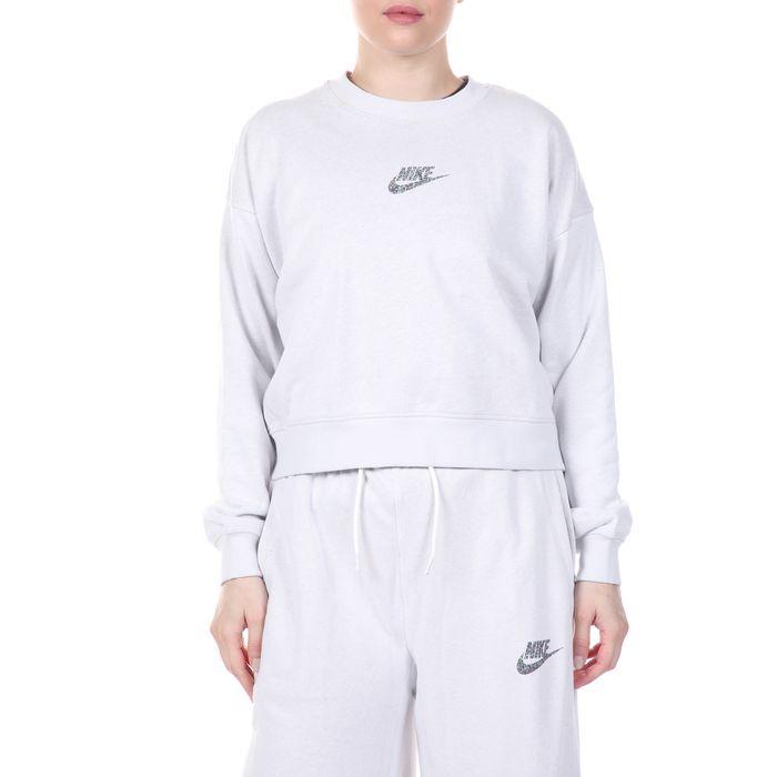 NIKE - Γυναικεία cropped φούτερ μπλούζα NIKE NSW CREW FT M2Z γκρι
