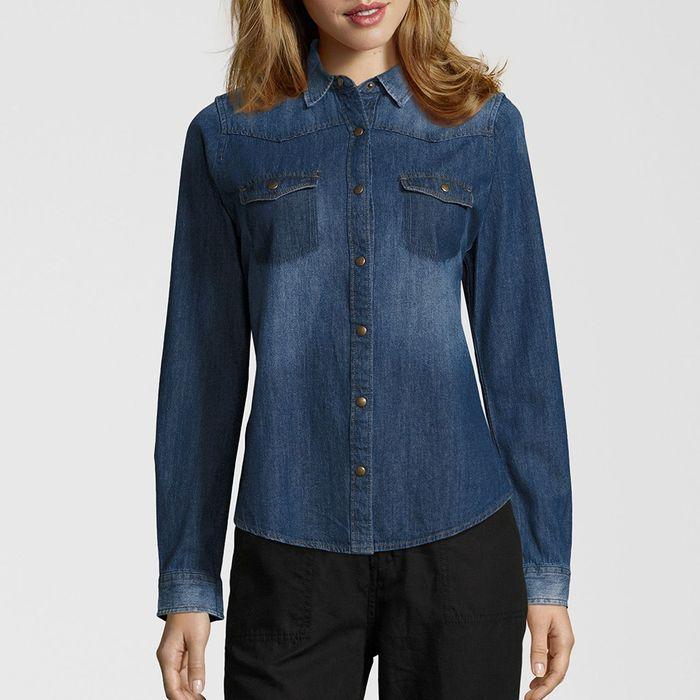 FUNKY BUDDHA - Γυναικείο μακρυμάνικο πουκάμισο FUNKY BUDDHA μπλε