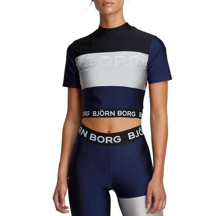 BJORN BORG - Γυναικείο αθλητικό cropped top BJORN BORG μπλε ασημί
