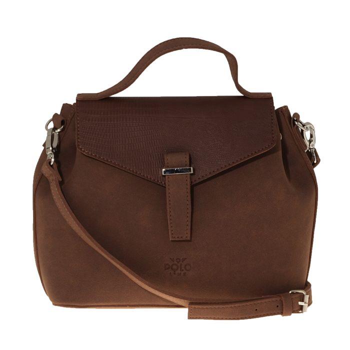 VQF POLO LINE - Γυναικεία τσάντα χειρός VQF POLO LINE καφέ