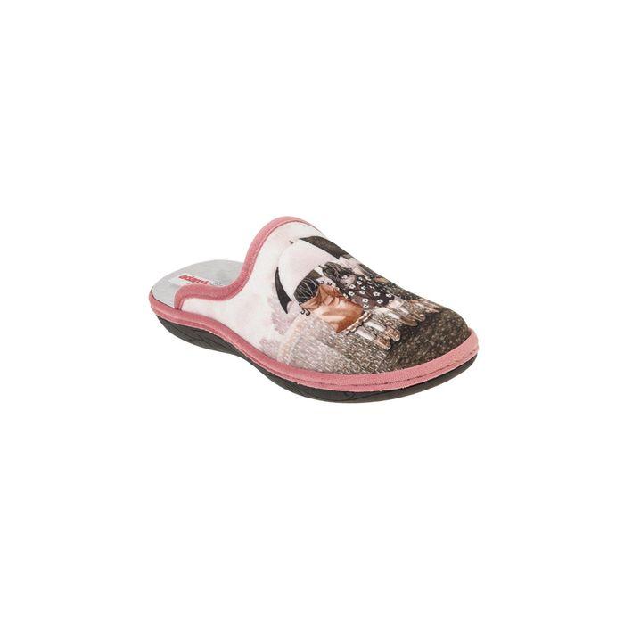 ADAM'S SHOES - Γυναικείες παντόφλες ADAM'S SHOES εκρού ροζ