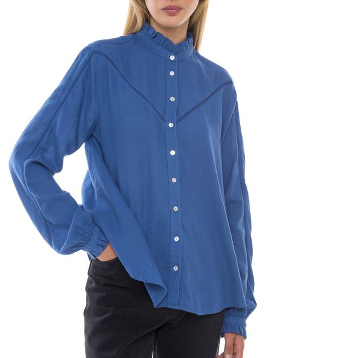 FUNKY BUDDHA - Γυναικείο πουκάμισο FUNKY BUDDHA μπλε