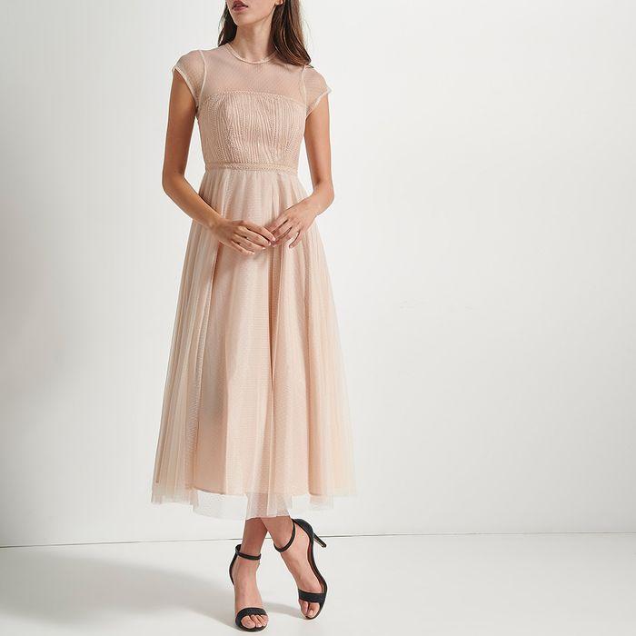 ATTRATTIVO - Γυναικείο maxi φόρεμα ATTRATTIVO μπεζ ροζ