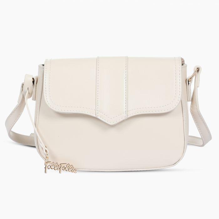 FOLLI FOLLIE - Γυναικεία τσάντα ώμου χιαστί FOLLI FOLLIE λευκή