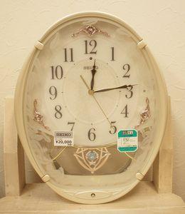 [Ns144] 美品!SEIKO AM244W 電波掛時計 アイボリー 飾り振子 Hi-Fi音源 ウエーブシンフ