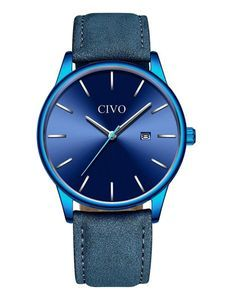 腕時計 メンズ時計レザー アナログクオーツ防水 ブルー 日付カレンダー シンプルデザイン