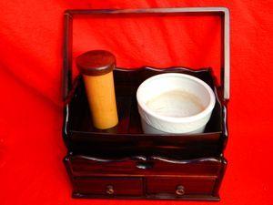 茶道具 莨盆 手付煙草盆 唐木 縞黒檀 黒檀 白磁 磁器製 火入 煙管