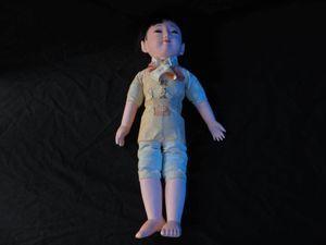 アンティーク 時代もの 市松人形 泣き人形 「乾三作」 人毛 女学生風 吊り目の女の子 ち