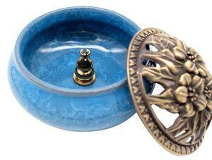 送料無料 陶器 香炉 お香 立て付 直径9.5cm アロマ 陶磁器 (ライトブルー)