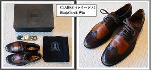 CLARKS(クラークス)BlackCheck Win 茶色コンビ・レザー製WING-TIP OXFORD