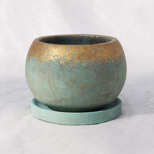 【送料無料】植木鉢 釉薬陶器製 インテリアポット GA007-175BB / 6寸・φ17.5×H13.5cm