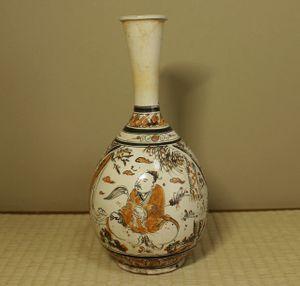 銘品 宋代磁州窯色絵人物文瓶 中国古玩古美術伝来品