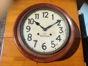 MTH899◆精工舎 SEIKOSHA 丸型 ゼンマイ式 掛け時計 木製 昭和レトロ アンティーク ビン