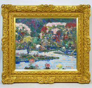 青山義雄 「庭園」 額装10号 この稀代のカラリストの色感・色覚は、他の洋画家の、