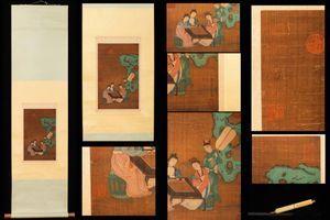 ◆厳◆【真作】中国書画 元代書画家『王振鵬・博奕図』蒐集家放出品 肉筆絹本保証 掛