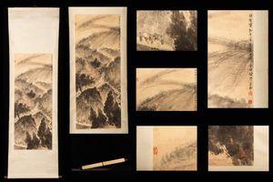 ◆厳◆【真作】中国書画 近代書画家『傅抱石・山水図』蒐集家放出品 肉筆紙本保証 掛