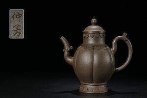 ◆厳◆【真作】★清時代・古紫砂彫・窯変紫砂壺★極細工 置物 擺件 古賞物 中国古美術