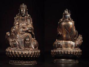 ◆厳◆【真作】★明時代・古銅宣徳・塗金文殊菩薩座像★極細工 置物 擺件 古賞物 中国古