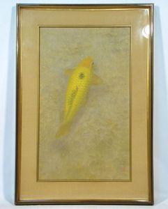 梶喜一 「鯉」 額装15号大 イエローを基調に、アングル・構図にも趣向を凝らした鯉