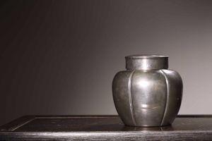 ◆厳◆【真作】★清時代・純銀・瓜紋茶葉缶・一東斎銘★極細工 置物 擺件 古賞物 中国古