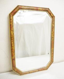 H750●ITALY製 SP.MOLATO アンティーク調 壁掛け 六角鏡 木製枠 47.5×68cm イタリア家具
