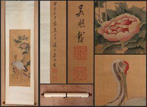 【真作】中国書画 清代書画家〈 呉讓之 花鳥図 〉掛け軸 肉筆絹本 文房賞物 唐物唐本