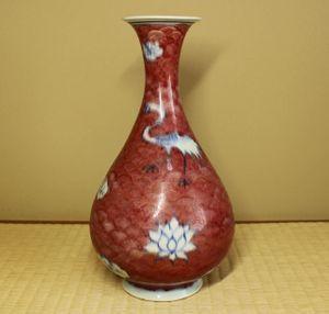 銘品 元代釉裏紅鶴文瓶 中国古玩古美術伝来品