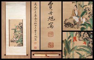 【真作】中国書画 清代書画家〈 費丹旭 人物図 〉掛け軸 肉筆紙本 文房賞物 唐物唐本