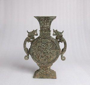 【齋】唐物 古青銅器 商時代 獸面龍耳四方尊 貴重品 館蔵 青銅酒器 置物擺件 蔵出 古董品