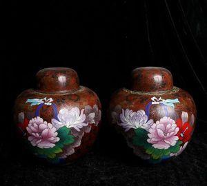 【齋】唐物 古陶磁器 清時代 琺琅彩瓷器 成對 合蓋 瓶簪折紋圓罐 置物擺件 蔵出 古董品