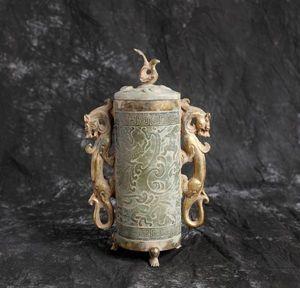 【齋】唐物 古玉器 漢時代 鳳蓋金包玉瑞獸雲紋雙耳三足尊 置物擺件 細密手彫 貴重品 賞物